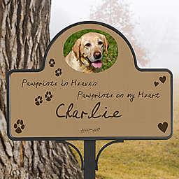 Paw Prints In Heaven Memorial Magnetic Garden Sign