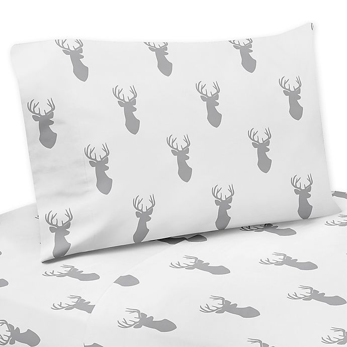 Alternate image 1 for Sweet Jojo Designs Stag Twin Sheet Set in Grey/White
