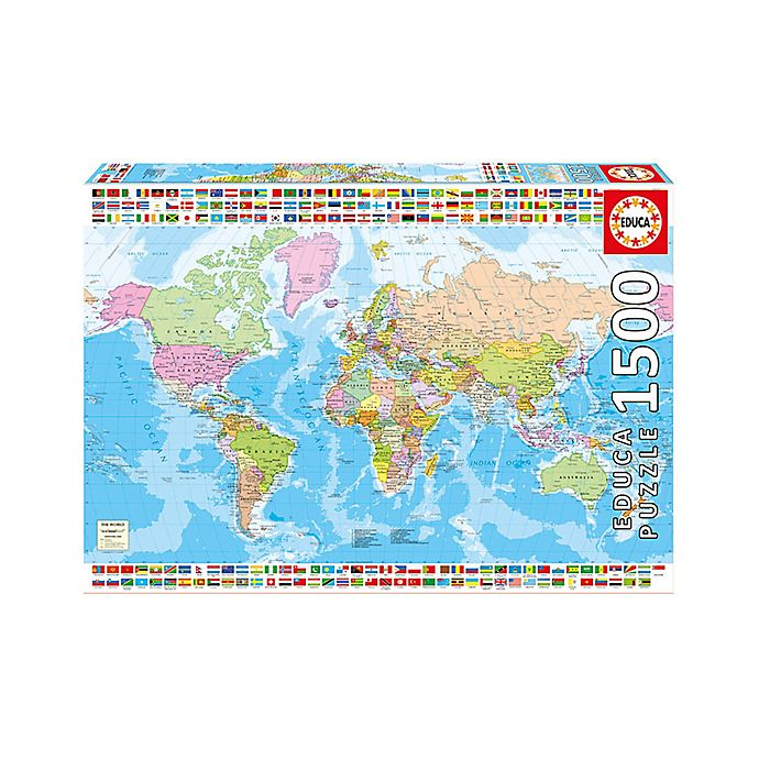 Alternate image 1 for Educa Political World Map 1500-Piece Jigsaw Puzzle