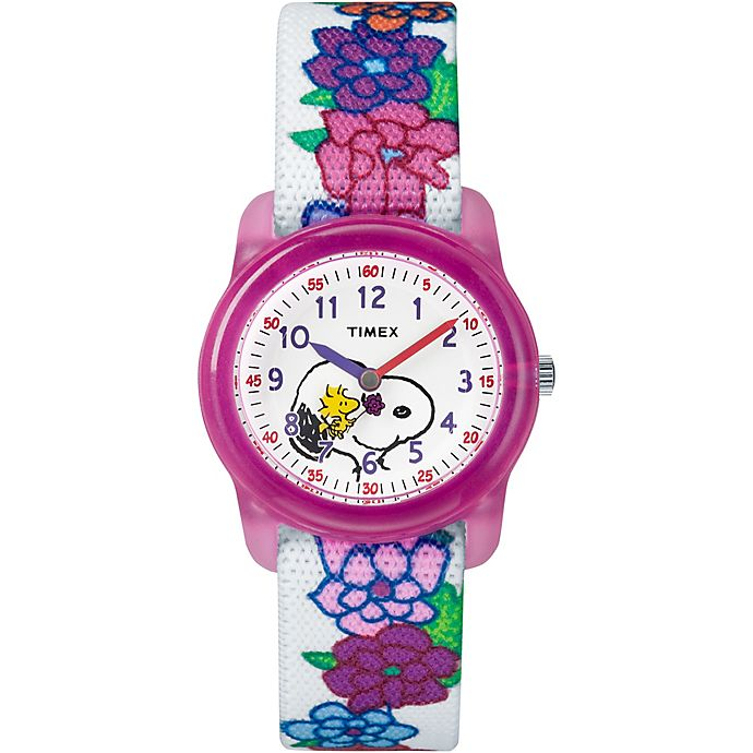 Alternate image 1 for Timex® Time Machines Children's 28mm Peanuts Snoopy and Woodstock Flowers Watch