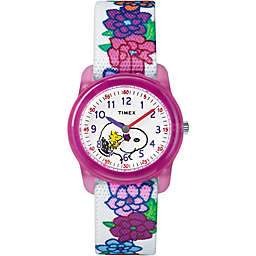 Timex® Time Machines Children's 28mm Peanuts Snoopy and Woodstock Flowers Watch