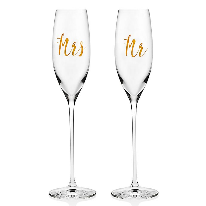Alternate image 1 for Olivia & Oliver Couples Toasting Flutes in Gold
