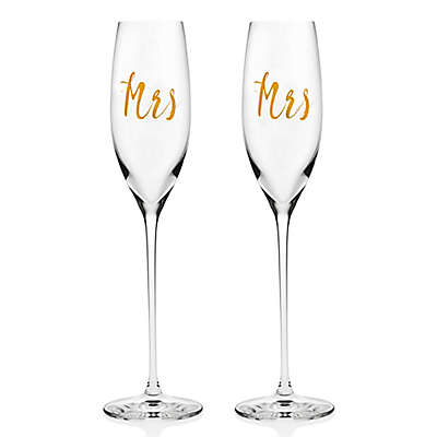 """Olivia & Oliver """"Mrs"""" and """"Mrs"""" Toasting Flutes in Gold (Set of 2)"""