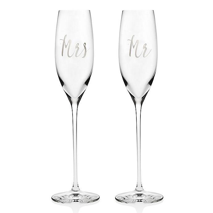 Alternate image 1 for Olivia & Oliver Couples Toasting Flutes in Platinum
