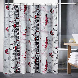 Romantic Notion Shower Curtain In Black Red