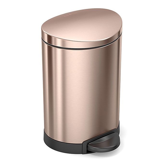 Alternate image 1 for simplehuman® 6-Liter Semi-Round Step Can in Stainless Steel