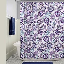 iDesign® Luna Floral Shower Curtain in Purple