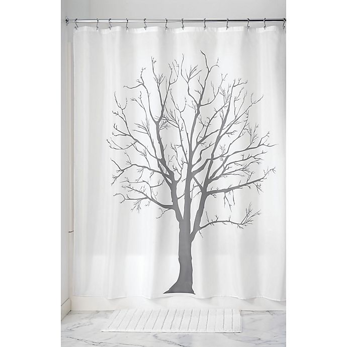 Alternate image 1 for iDesign® Tree Shower Curtain in Charcoal