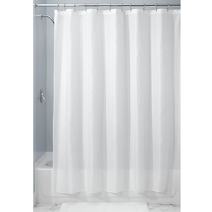 Alternate image 1 for iDesign® 72-Inch x 84-Inch Carlton Fabric Shower Curtain in White