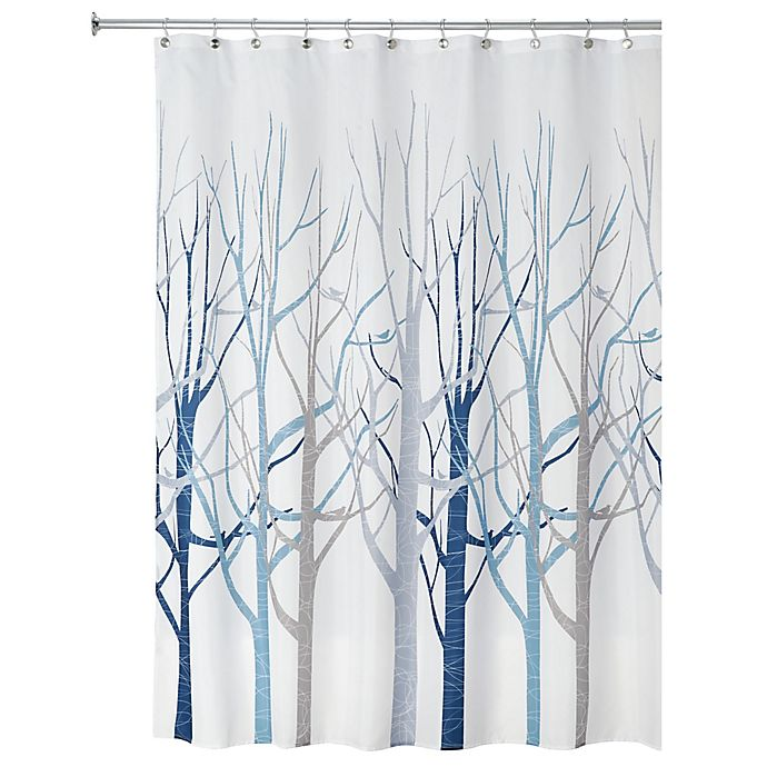 Alternate image 1 for iDesign® Forest Fabric Shower Curtain in Blue/Grey