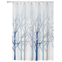 iDesign® Forest Fabric Shower Curtain in Blue/Grey