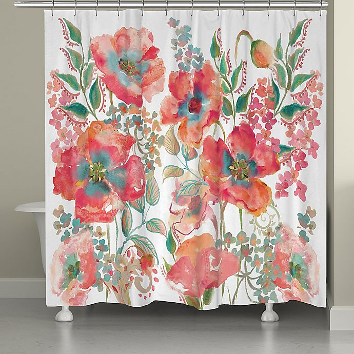 Alternate image 1 for Laural Home Bohemian Poppies Shower Curtain