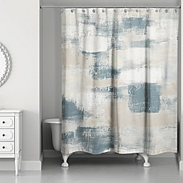 Designs Direct Neutral Brush Strokes Shower Curtain in Blue