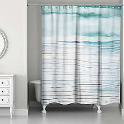Designs Direct Linear Waves Shower Curtain in Teal
