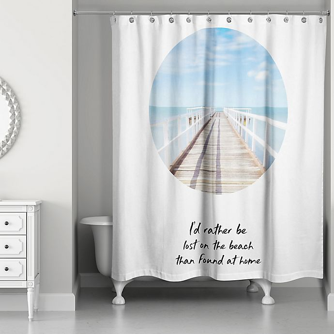 Alternate image 1 for Designs Direct Lost On The Beach Shower Curtain in Blue