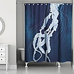 Designs Direct Jellyfish Tentacle Shower Curtain in Blue