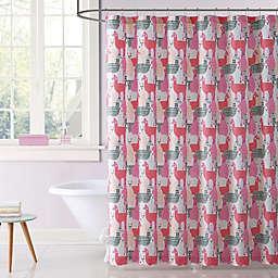 My World Llama Llama Shower Curtain in Pink/Grey