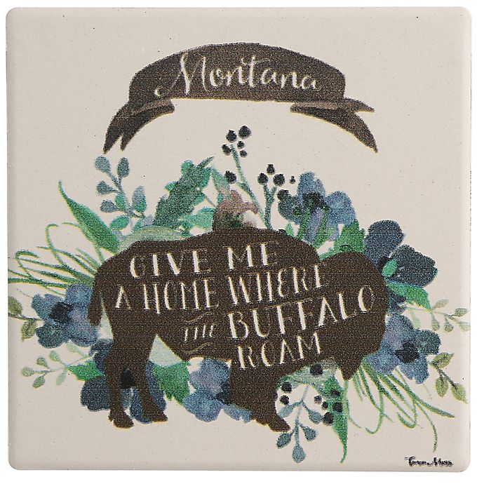 Alternate image 1 for Thirstystone® Montana Blue Buffalo Single Square Coaster