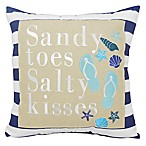 Sandy Toes and Salty Kisses  Square Throw Pillow in Navy
