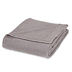 Corn Stitch Knit Throw Blanket in Grey