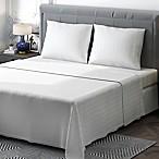 Brielle 400-Thread-Count Sateen Queen Sheet Set in White Stripe