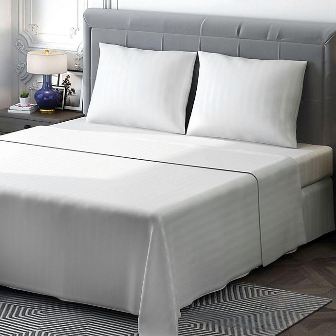 Alternate image 1 for Brielle 400-Thread-Count Sateen Full Sheet Set in White Stripe