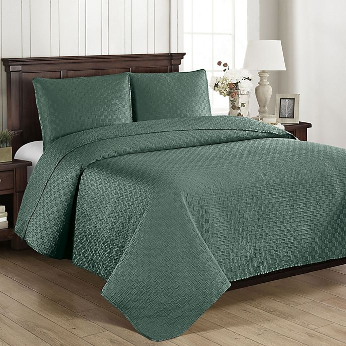 Alternate image 1 for Brielle Basketweave King Quilt Set in Sea Glass