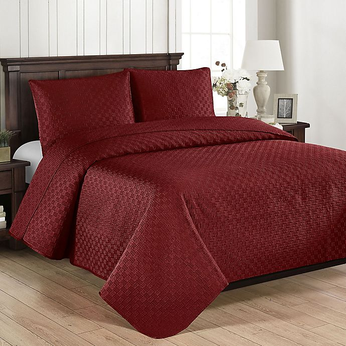 Alternate image 1 for Brielle Basketweave Twin Quilt Set in Red