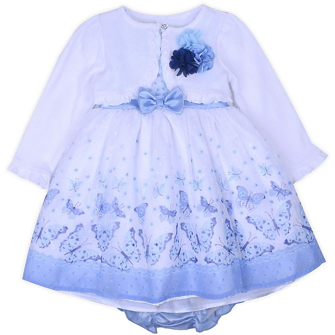 dad58a1d146d0 Nanette Baby® 2-Piece Cardigan and Butterfly Dress Set in Blue   Bed ...