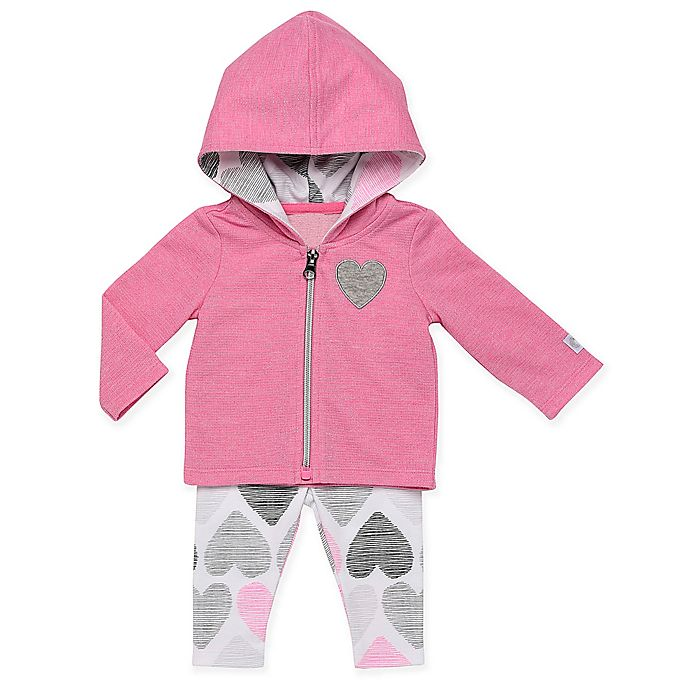 Alternate image 1 for Boppy® 2-Piece Heart Hooded Cardigan and Legging Set in Pink