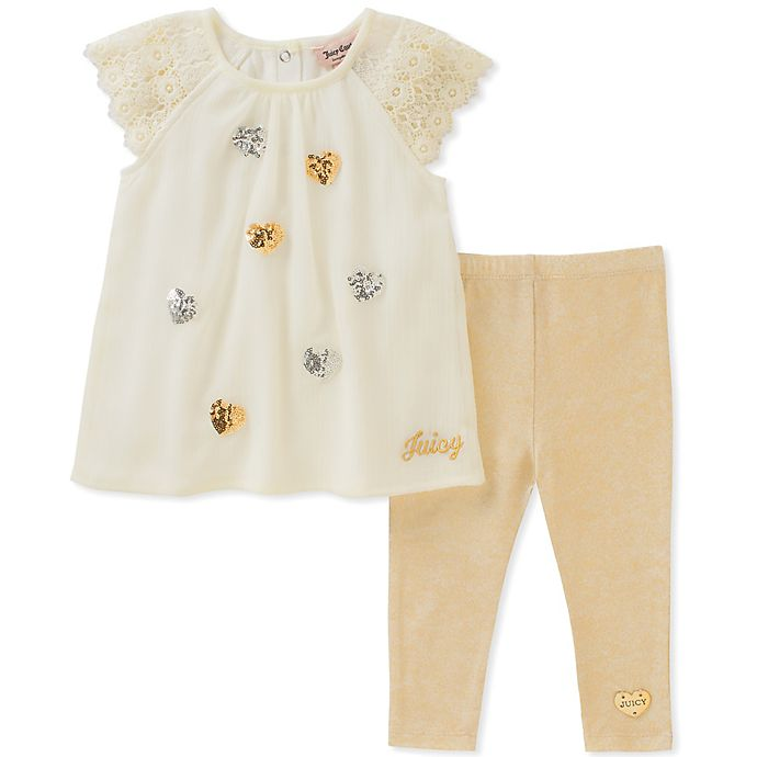 fdd4ab595 Juicy Couture® 2-Piece Sequin Heart Short Sleeve Top and Legging Set in  Cream/Gold