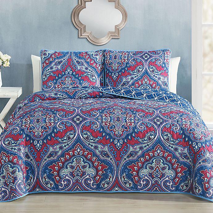 Alternate image 1 for Avondale Manor Cantara Reversible King Quilt Set in Blue