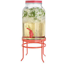 Glass Coral Beverage Dispenser with Metal Stand