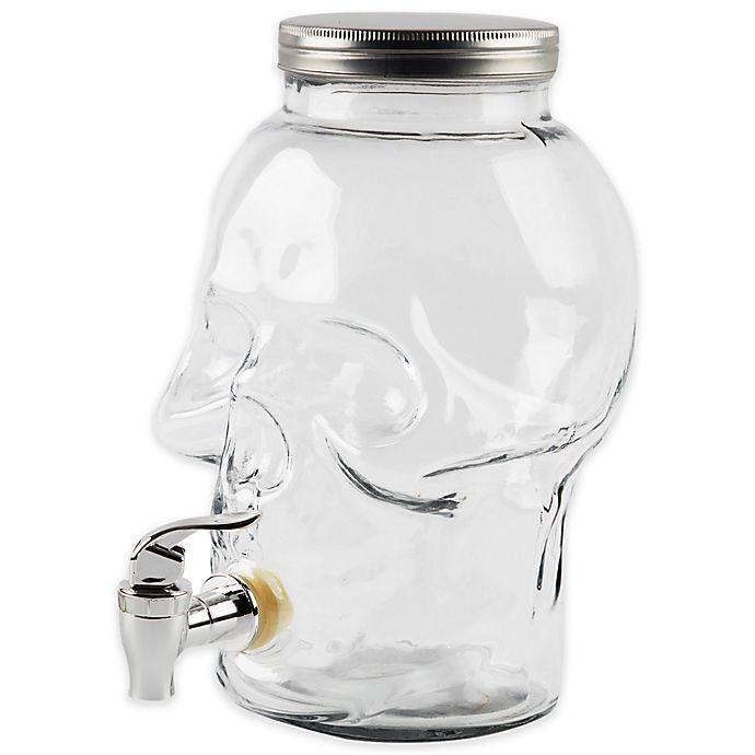 Alternate image 1 for Skull-Embossed Glass Beverage Dispenser