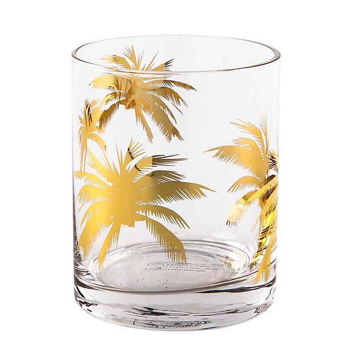 Alternate image 1 for Home Essentials & Beyond Gold Palm Double Old Fashioned Glasses (Set of 4)