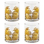 Gold Pineapple Double Old Fashioned Glasses (Set of 4)