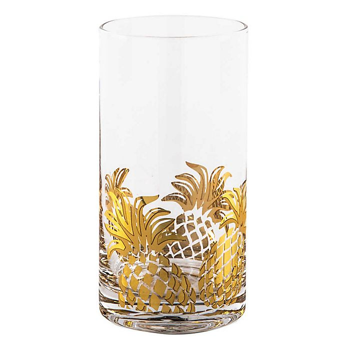 Alternate image 1 for Home Essentials & Beyond Gold Pineapple Highball Glasses (Set of 4)
