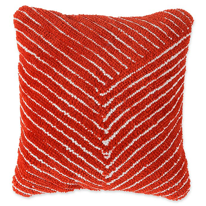 Alternate image 1 for Nottingham Home Geo Stripe Square Throw Pillow in Clay Red