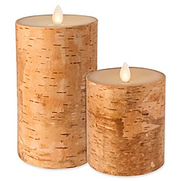 Luminara® Real-Flame Effect Pillar Candle in Birch