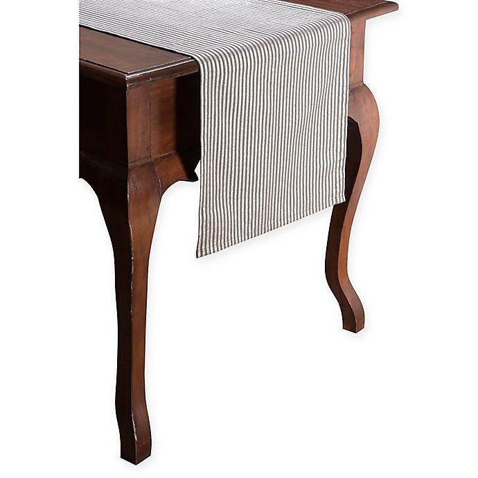 Alternate image 1 for Kaf Home Foil Metro Stripe 72-Inch Table Runner in Pewter