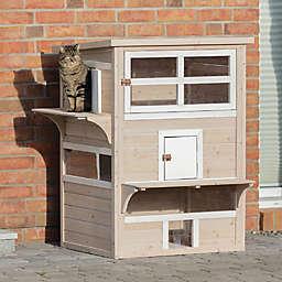 TRIXIE Natura XXL Wooden Outdoor Cat Retreat in Grey