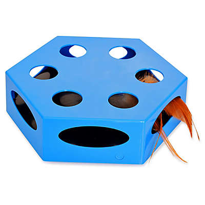 Iconic Pet Knock 'n' Roll Interactive Spinning Cat Toy in Blue