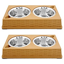 Iconic Pet Designer Rattan Double Diner Pet Bowls (Set of 2)