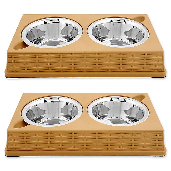 Alternate image 1 for Iconic Pet Designer Rattan Double Diner Pet Bowls (Set of 2)