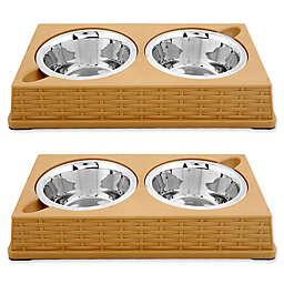 Iconic Pet Designer Rattan Double Diner Pet Bowls (Set of 2)