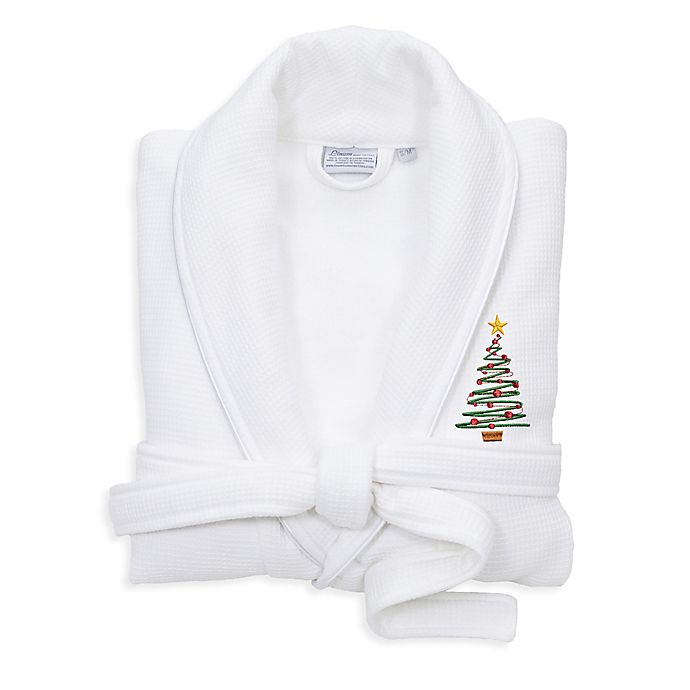 Alternate image 1 for Linum Home Textiles Embroidered Christmas Tree Waffle Terry Bathrobe
