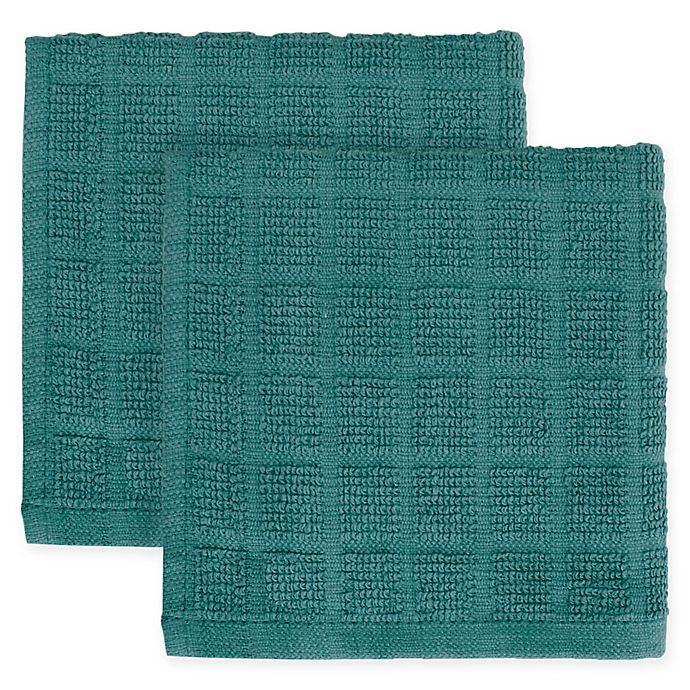 Alternate image 1 for KitchenSmart® Colors 2-Pack Solid Windowpane Dish Cloth in Atlantic