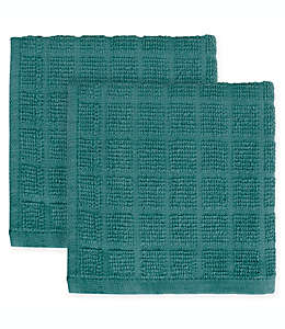 KitchenSmart® Colors Trapos de cocina cuadrados en azul atlántico, Paquete de 2