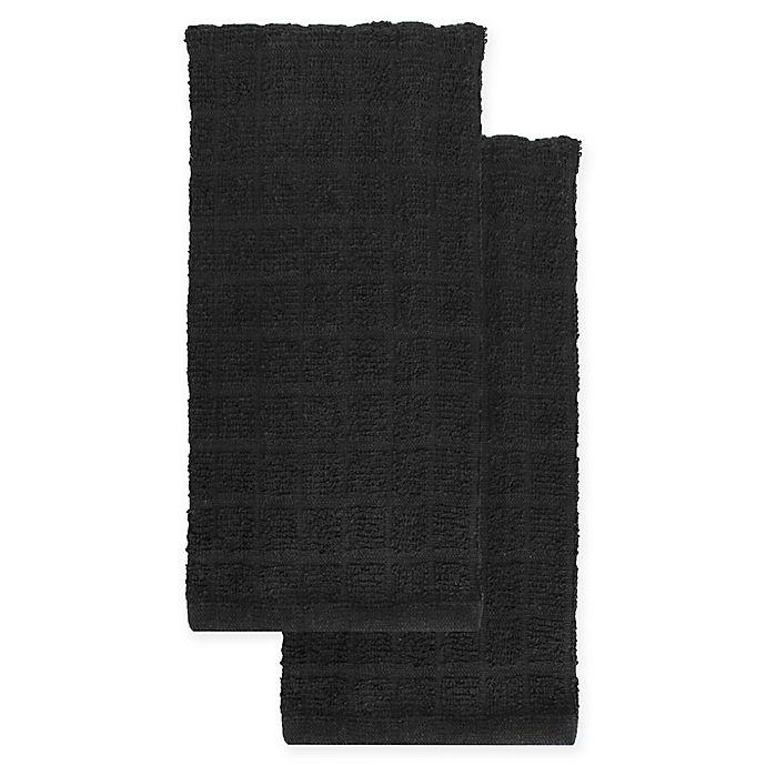 Alternate image 1 for KitchenSmart® Colors 2-Pack Solid Kitchen Towels in Caviar