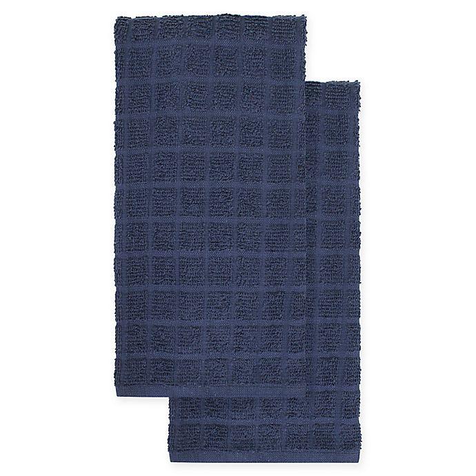 Alternate image 1 for KitchenSmart® Colors 2-Pack Solid Kitchen Towels in Navy